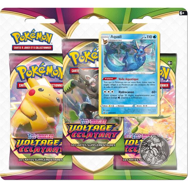 Tripack de boosters Voltage Éclatant - Pokémon Aquali (EB4)