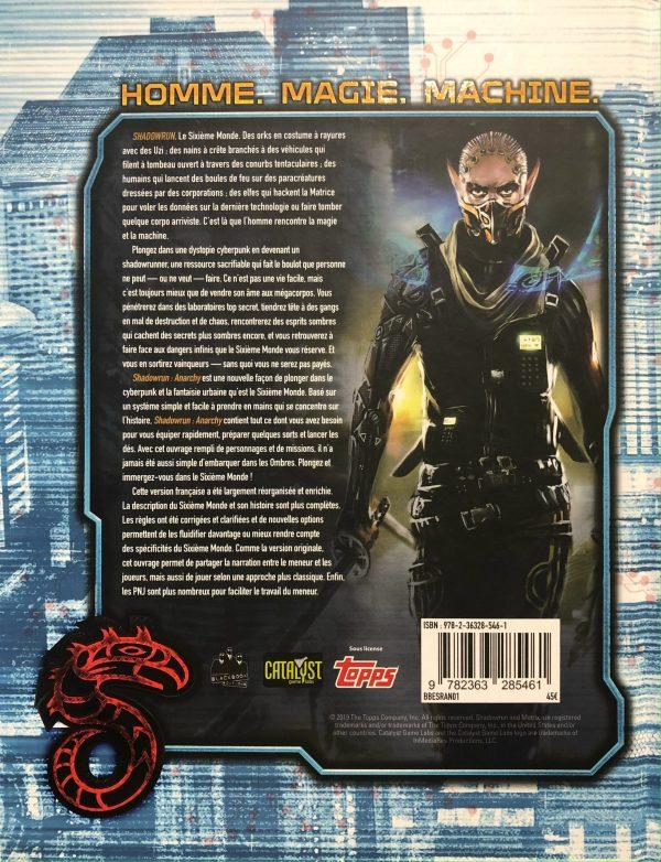 La quatrième de couverture Shadowrun Anarchy