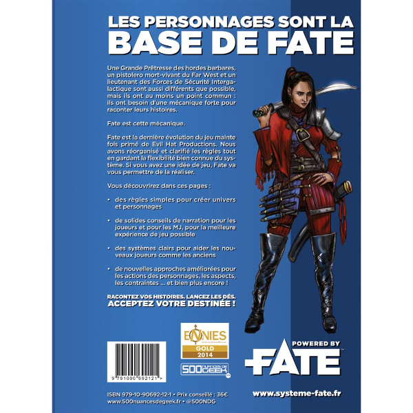 La quatrième de couverture de Fate : Système de base